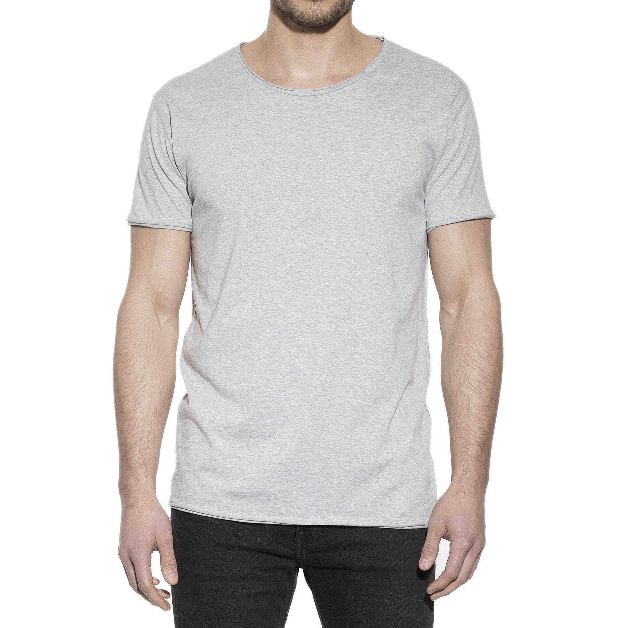 Enfärgad t shirt grå för herr i ekologisk bomull med relaxed passform och rund hals, framifrån