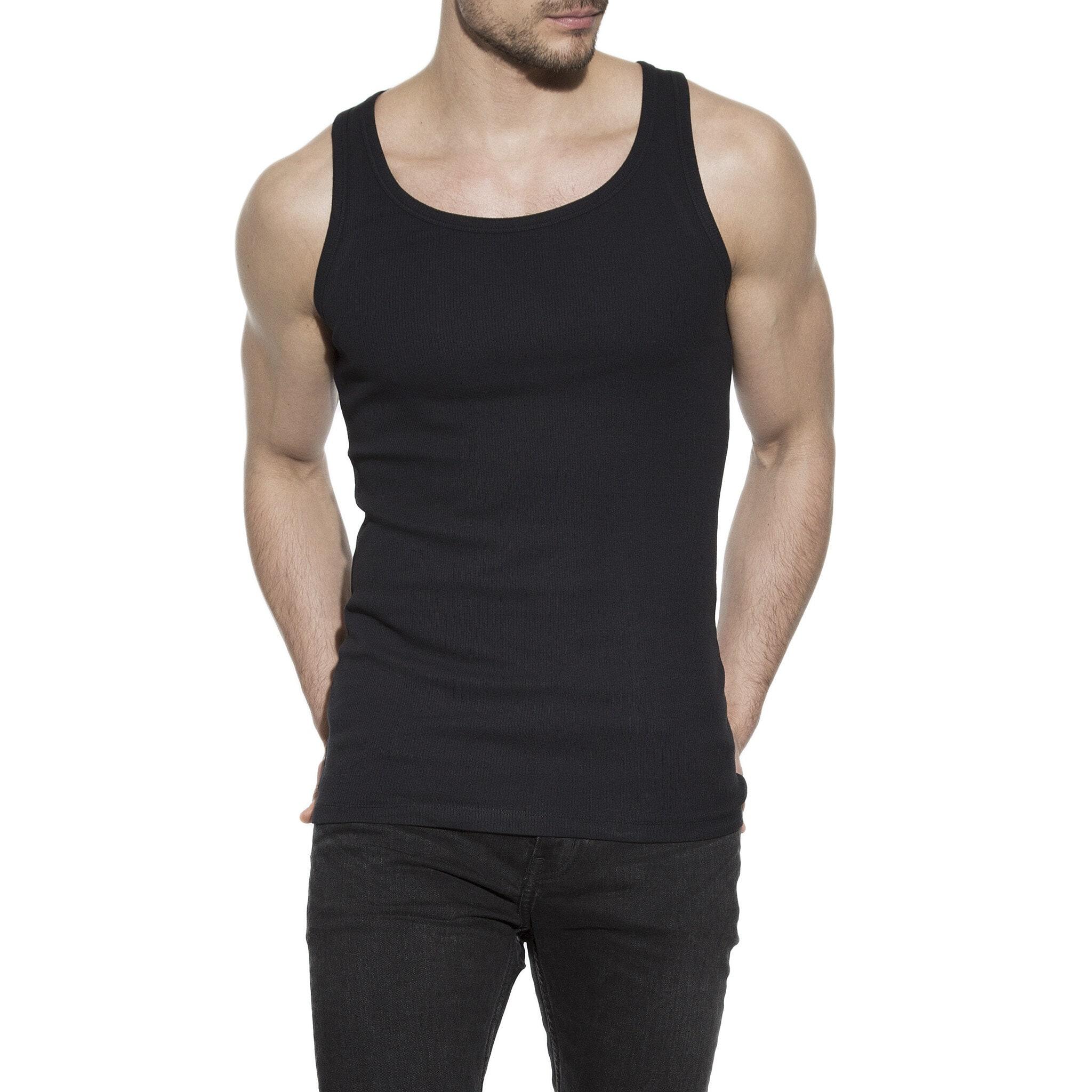 Enfärgat ribbat linne svart för herr i ekologisk bomull med small passform, framifrån